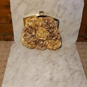 LuLu Townsend satin Floral Rouched Clutch